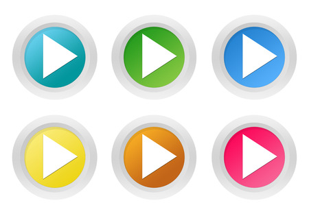 Set of rounded colorful buttons with arrow symbol in blue, green, yellow, pink and orange colors photo