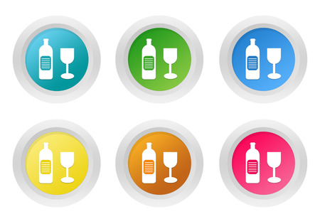 shopping champagne: Set of rounded colorful buttons with drink symbol in blue, green, yellow, pink and orange colors