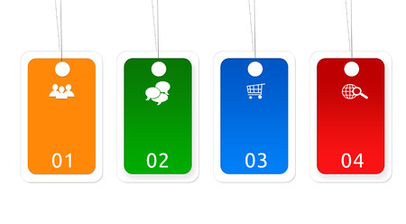 Colorful label buttons for Web page menu, marketing or presentations photo