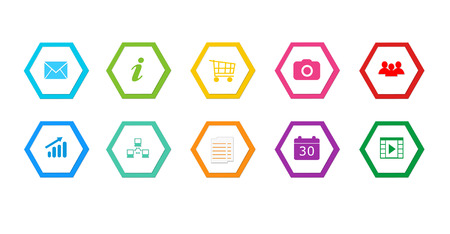 Colorful buttons for Web page menu, marketing or presentations with hexagons photo
