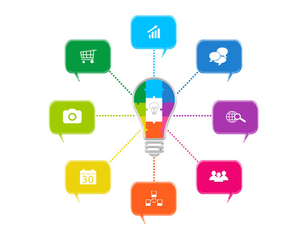 convocation: Abstract design with dialogs and bulb for web, marketing or presentations Stock Photo