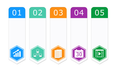 Set of colorful buttons for Web page menu, marketing or presentations with hexagon icons photo