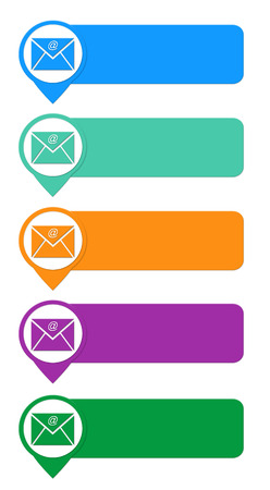 Colorful buttons for Web page menu, marketing or presentations with email symbol photo