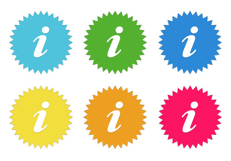 information symbol: Set of colorful stickers icons with information symbol in blue, green, yellow, red and orange colors