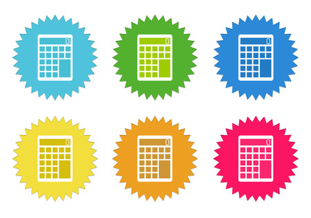 billing: Set of colorful stickers icons with calculator symbol in blue, green, yellow, red and orange colors
