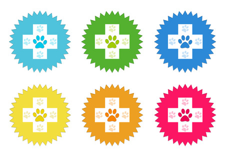 veterinary symbol: Set of colorful stickers icons with veterinary symbol in blue, green, yellow, red and orange colors