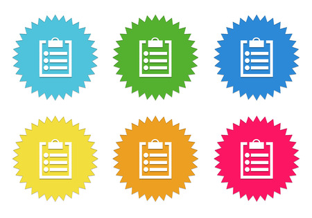 yellow notepad: Set of colorful stickers icons with notepad symbol in blue, green, yellow, red and orange colors