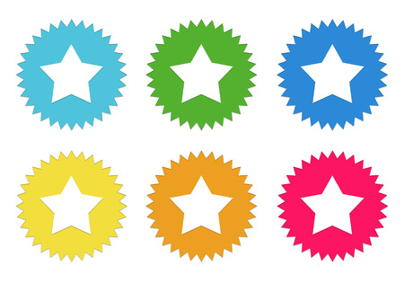 Set of colorful stickers icons with star symbol in blue, green, yellow, red and orange colors photo