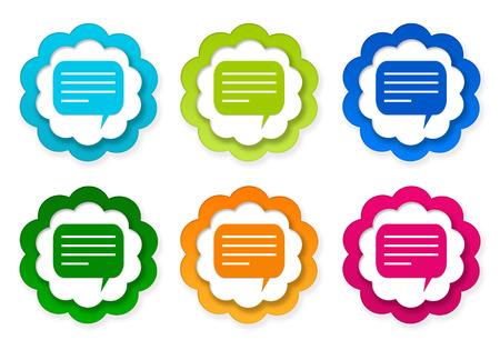 青、緑、ピンクとオレンジ色の会話記号がカラフルなステッカー アイコンのセット