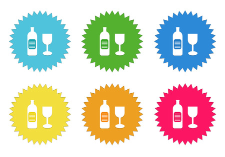 shopping champagne: Set of colorful stickers icons with drink symbol in blue, green, yellow, red and orange colors