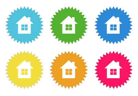 Set of colorful stickers icons with house symbol in blue, green, yellow, red and orange colors photo