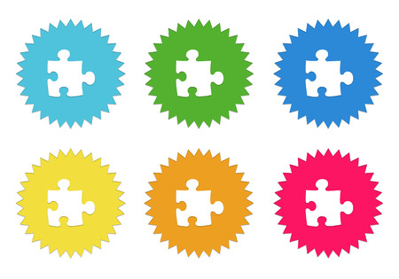 Set of colorful sticker icons with puzzle symbol in blue, green, yellow, red and orange colors photo
