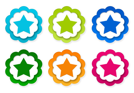 Set of colorful stickers icons with star symbol in blue, green, pink and orange colors photo