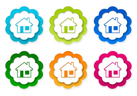青、緑、黄色、赤、オレンジ色の家のシンボルのカラフルなステッカー アイコンのセット