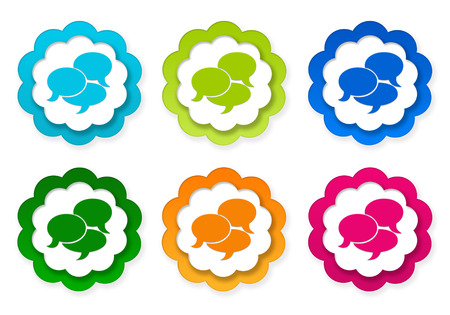 advising: Set of colorful stickers icons with bubble speeches symbol in blue, green, yellow, red and orange colors Stock Photo