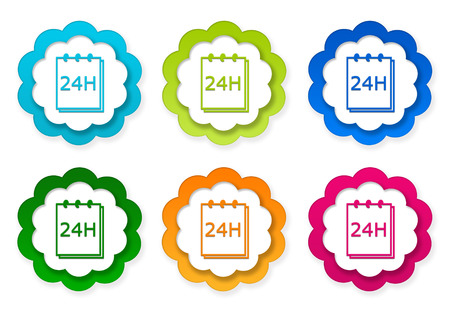 yellow notepad: Set of colorful stickers icons with notepad 24 hours support symbol in blue, green, yellow, red and orange colors Stock Photo