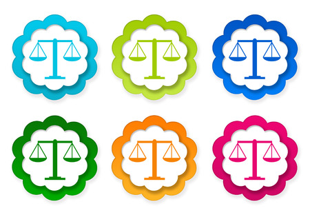 tribunal: Set of colorful stickers icons with legal symbol in blue, green, pink and orange colors Stock Photo