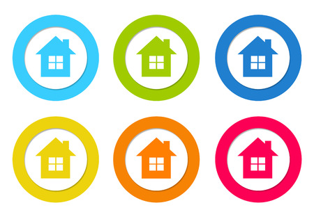 advising: Colorful rounded icons with house symbol in blue, green, yellow, orange and red colors