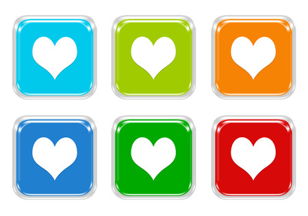 Set of squared colorful buttons with heart symbol in blue, green, red and orange colors photo
