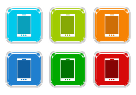 squared: Set of squared colorful buttons with phone symbol in blue, green, red and orange colors Stock Photo