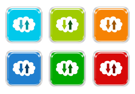 Set of squared colorful buttons with cloud symbol in blue, green, red and orange colors photo