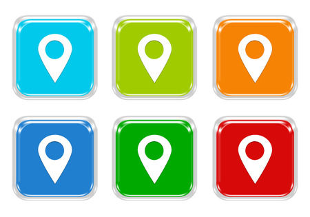 squared: Set of squared colorful buttons with markers on maps in blue, green, red and orange colors