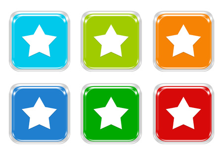 Set of squared colorful buttons with star symbol in blue, green, red and orange colors photo