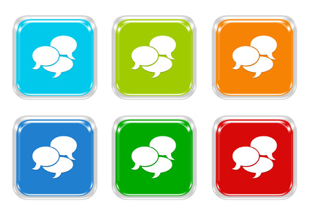 advising: Set of squared colorful buttons with bubble speeches symbol in blue, green, red and orange colors