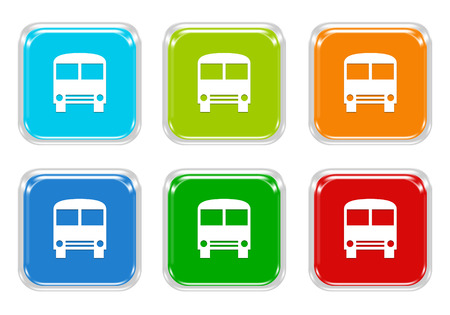 squared: Set of squared colorful buttons with bus symbol in blue, green, red and orange colors