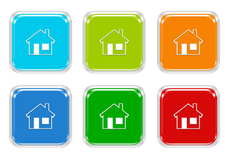 advising: Set of squared colorful buttons with house symbol in blue, green, red and orange colors Stock Photo