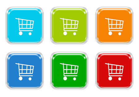 squared: Set of squared colorful buttons with shopping cart symbol in blue, green, red and orange colors Stock Photo