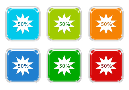 squared: Set of squared colorful buttons with discount symbol in blue, green, red and orange colors