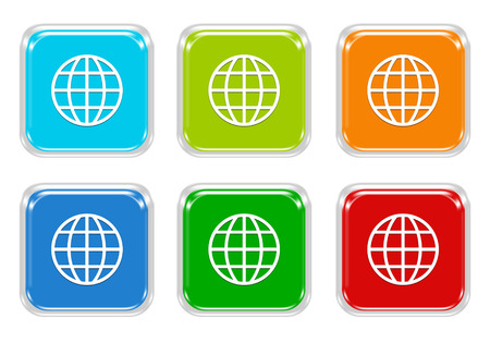 squared: Set of squared colorful buttons with world symbol in blue, green, yellow, pink and orange colors Stock Photo