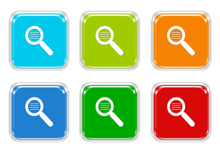 squared: Set of squared colorful buttons with search symbol in blue, green, red and orange colors Stock Photo