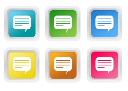 advising: Set of squared colorful buttons with conversation symbol in blue, green, yellow, pink and orange colors Stock Photo