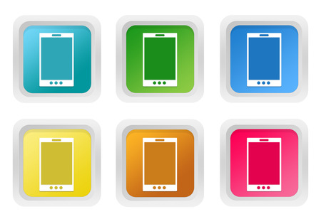 squared: Set of squared colorful buttons with phone symbol in blue, green, yellow, pink and orange colors