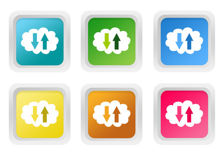 squared: Set of squared colorful buttons with cloud symbol in blue, green, yellow, pink and orange colors Stock Photo