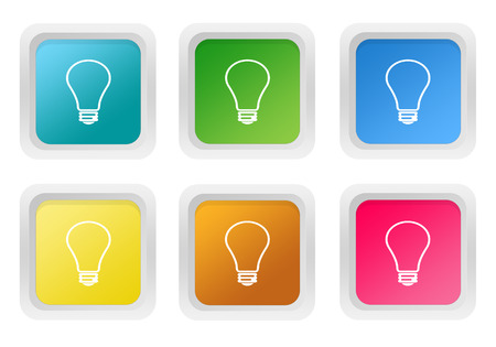 purchasing power: Set of squared colorful buttons with bulb symbol in blue, green, yellow, pink and orange colors Stock Photo
