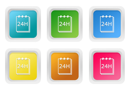 yellow notepad: Set of squared colorful buttons with notepad 24 hours support symbol in blue, green, yellow, pink and orange colors