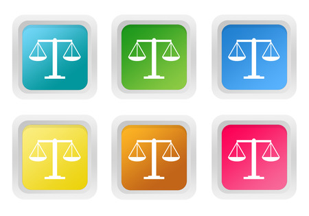 squared: Set of squared colorful buttons with legal symbol in blue, green, yellow, pink and orange colors