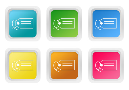 squared: Set of squared colorful buttons with label symbol in blue, green, yellow, pink and orange colors Stock Photo