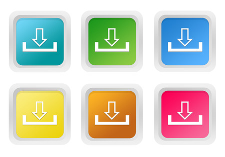 squared: Set of squared colorful buttons with download symbol in blue, green, yellow, pink and orange colors