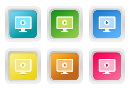 squared: Set of squared colorful buttons with screen symbol in blue, green, yellow, pink and orange colors
