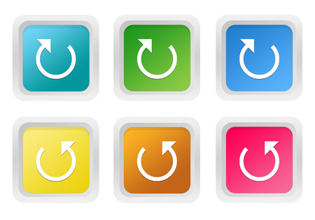 Set of squared colorful buttons with arrow symbol in blue, green, yellow, pink and orange colors photo