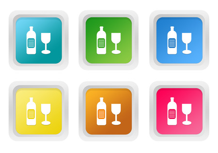 shopping champagne: Set of squared colorful buttons with drink symbol in blue, green, yellow, pink and orange colors