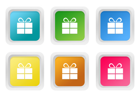 Set of squared colorful buttons with gift symbol in blue, green, yellow, pink and orange colors photo