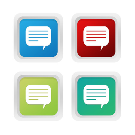 advising: Set of squared colorful buttons with conversation symbol in blue, green and red colors
