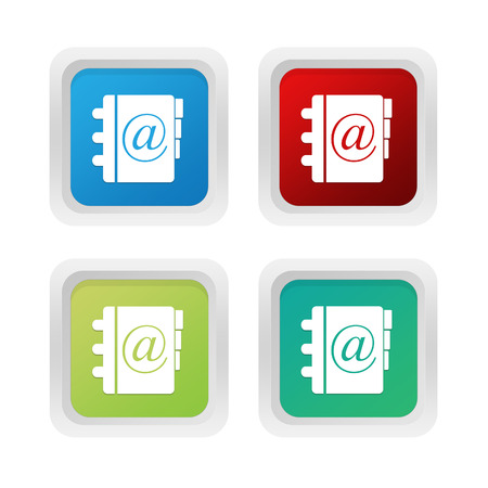 squared: Set of squared colorful buttons with address book symbol in blue, green and red colors Stock Photo