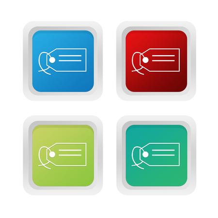 squared: Set of squared colorful buttons with label symbol in blue green and red colors