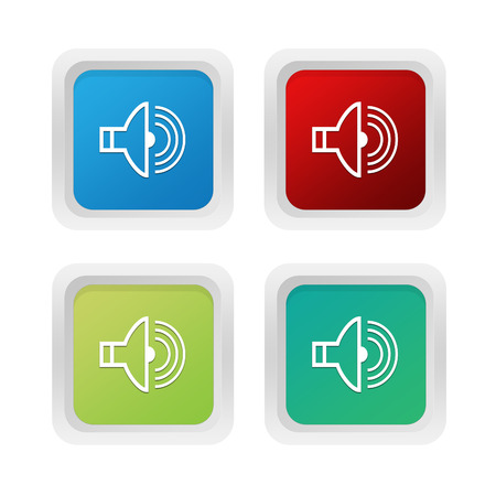 sonorous: Set of squared colorful buttons with speaker symbol in blue green and red colors Stock Photo